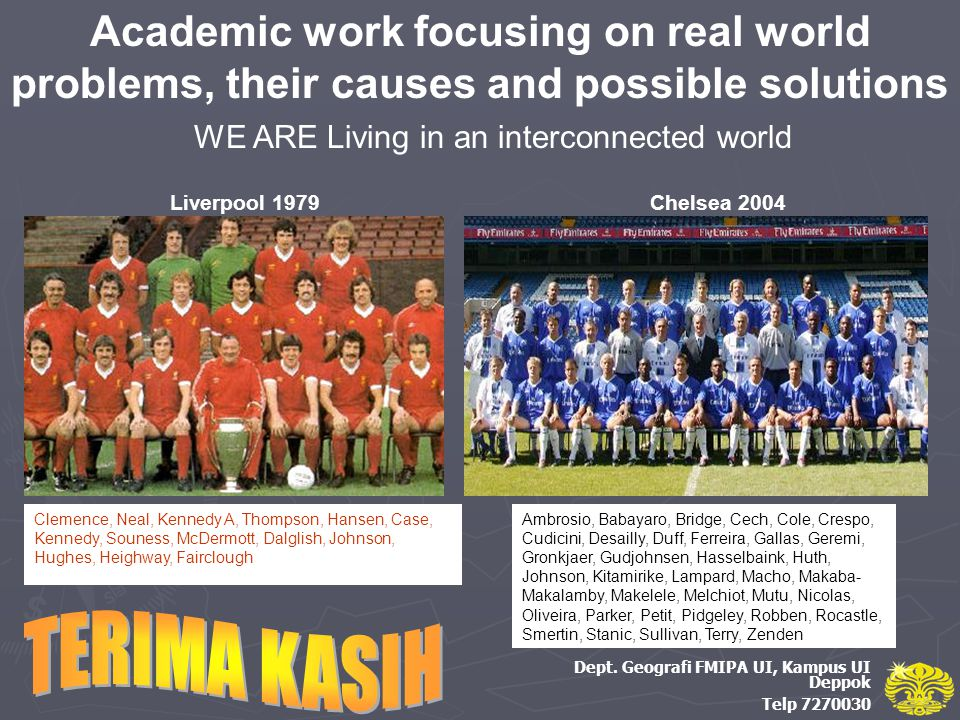 Academic work focusing on real world problems, their causes and possible solutions