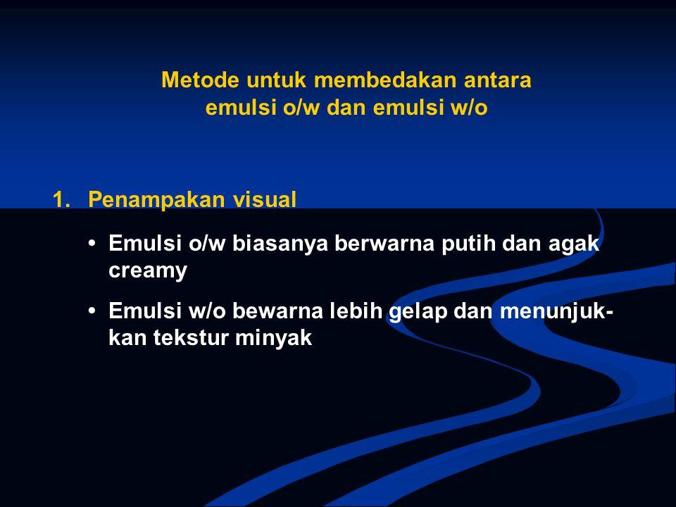 Metode untuk membedakan antara emulsi o/w dan emulsi w/o