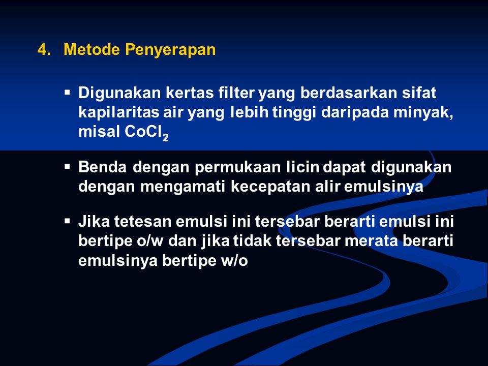 4. Metode Penyerapan  Digunakan kertas filter yang berdasarkan sifat kapilaritas air yang lebih tinggi daripada minyak, misal CoCl2.