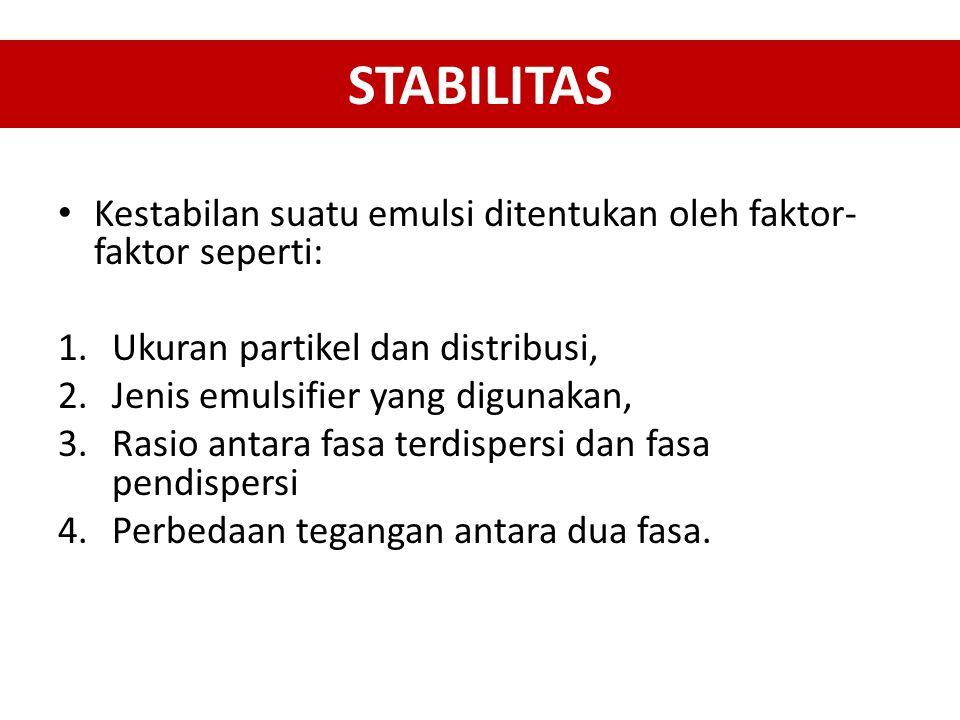 STABILITAS Kestabilan suatu emulsi ditentukan oleh faktor-faktor seperti: Ukuran partikel dan distribusi,