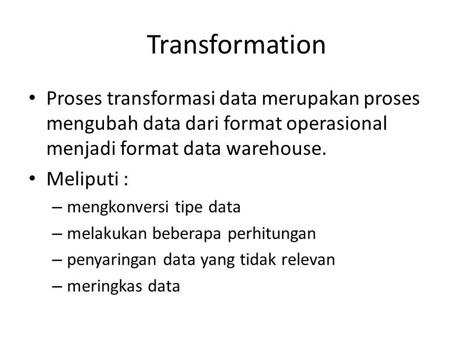 Transformation Proses transformasi data merupakan proses mengubah data dari format operasional menjadi format data warehouse.