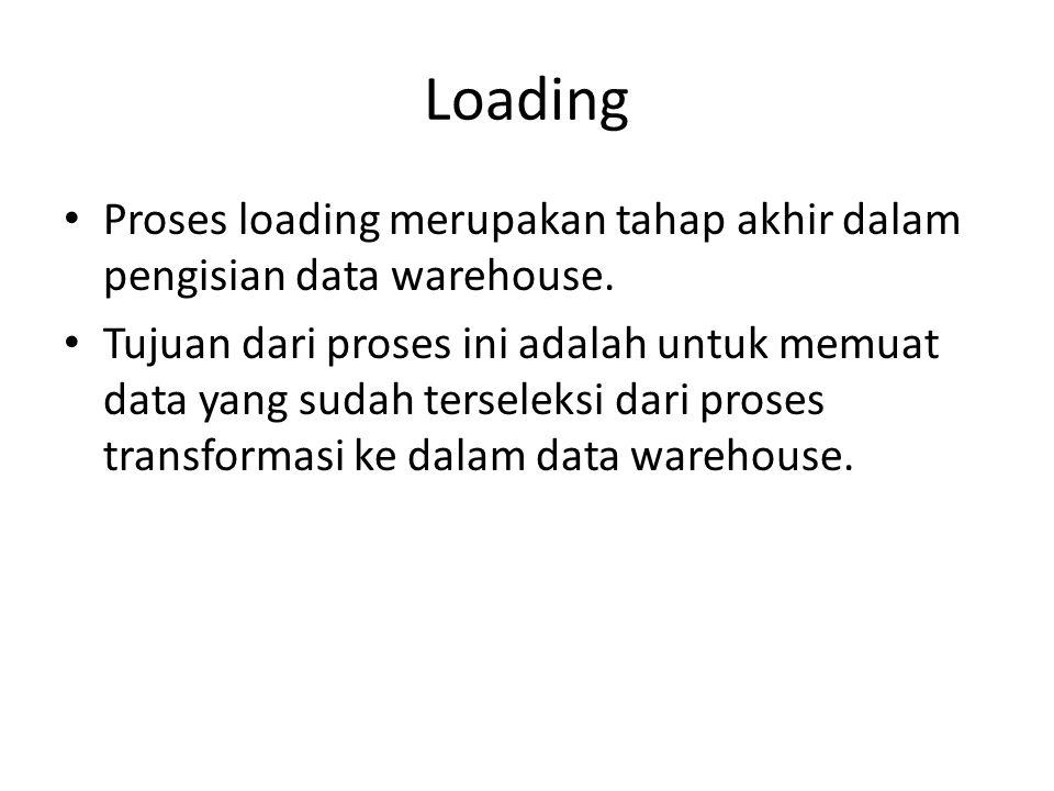 Loading Proses loading merupakan tahap akhir dalam pengisian data warehouse.
