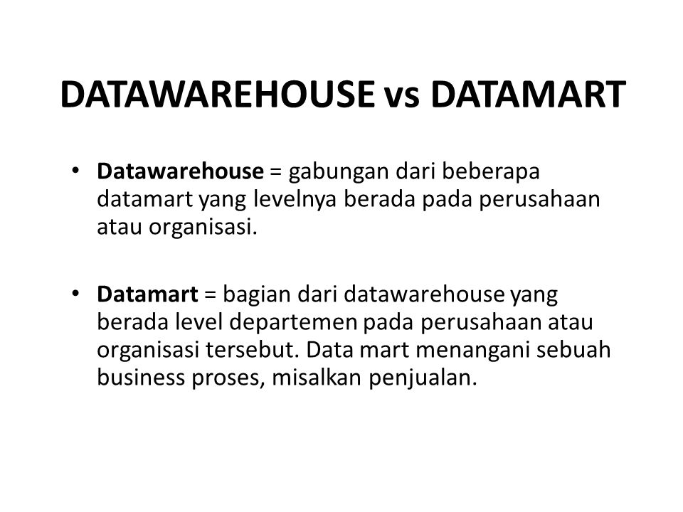 DATAWAREHOUSE vs DATAMART