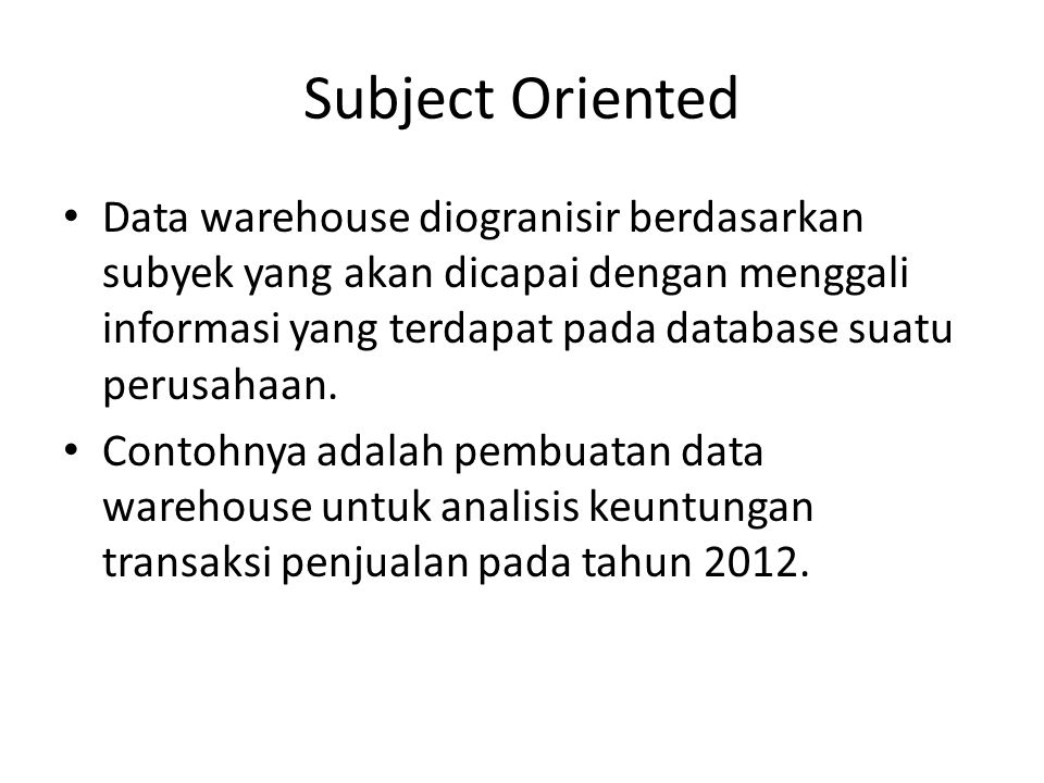 Subject Oriented