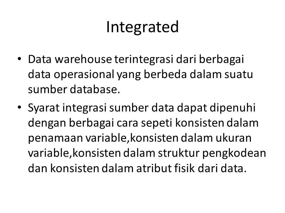 Integrated Data warehouse terintegrasi dari berbagai data operasional yang berbeda dalam suatu sumber database.