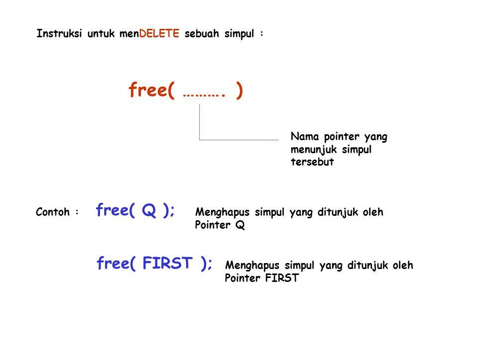 free( ………. ) free( Q ); free( FIRST );