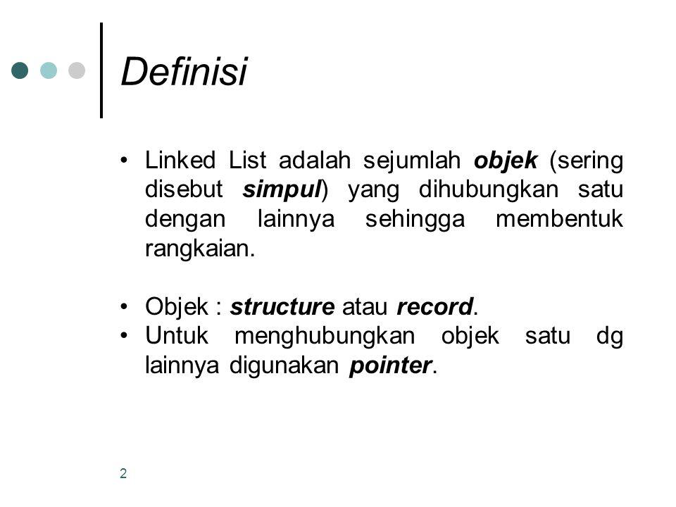 Definisi Linked List adalah sejumlah objek (sering disebut simpul) yang dihubungkan satu dengan lainnya sehingga membentuk rangkaian.