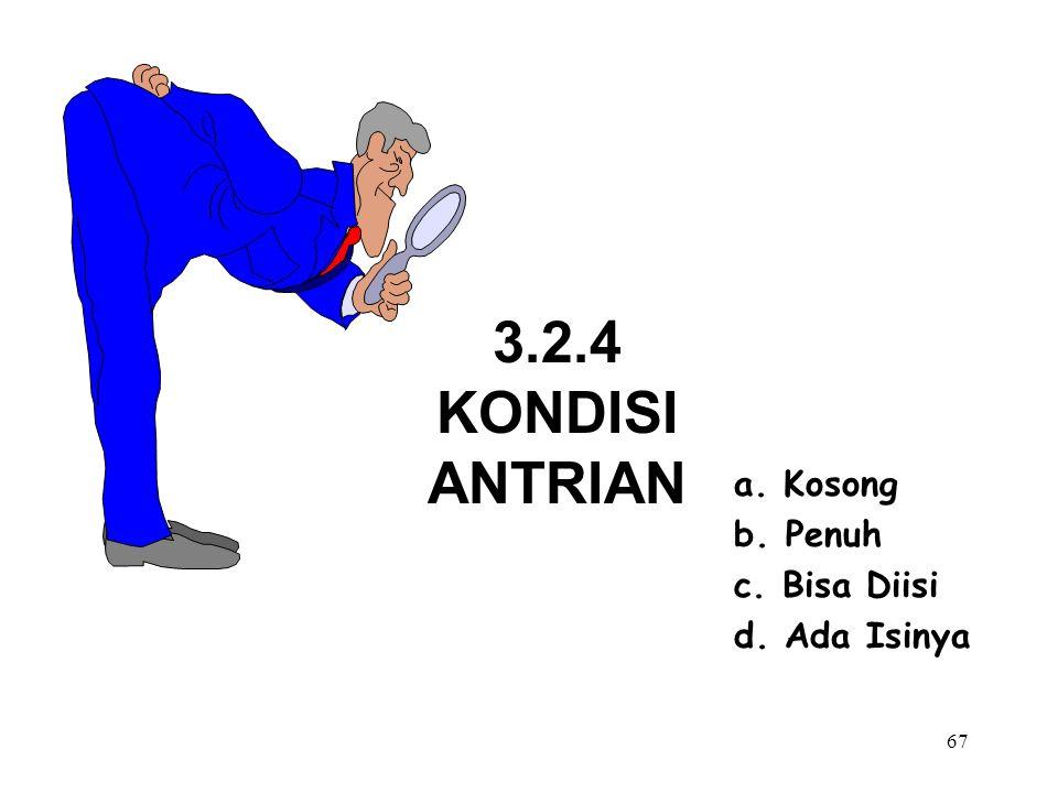 3.2.4 KONDISI ANTRIAN a. Kosong b. Penuh c. Bisa Diisi d. Ada Isinya