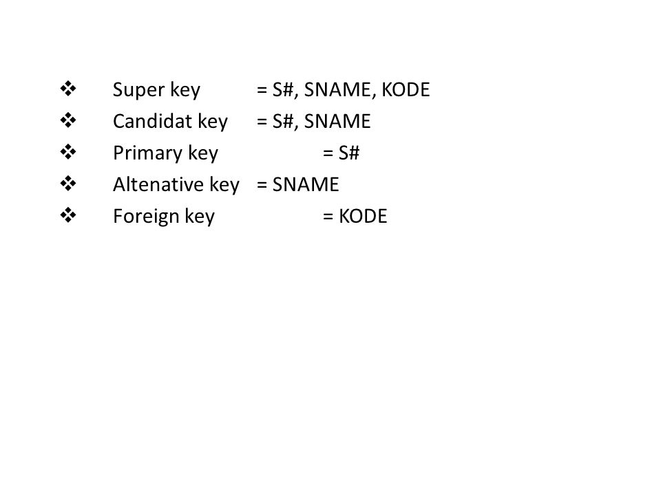 Super key = S#, SNAME, KODE