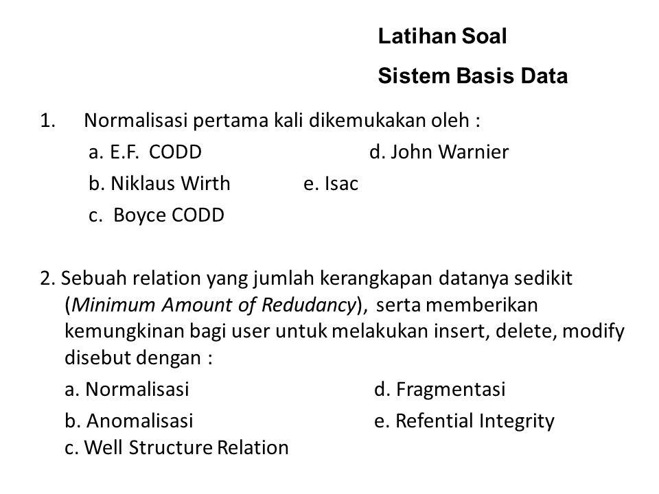 Latihan Soal Sistem Basis Data. Normalisasi pertama kali dikemukakan oleh : a. E.F. CODD d. John Warnier.