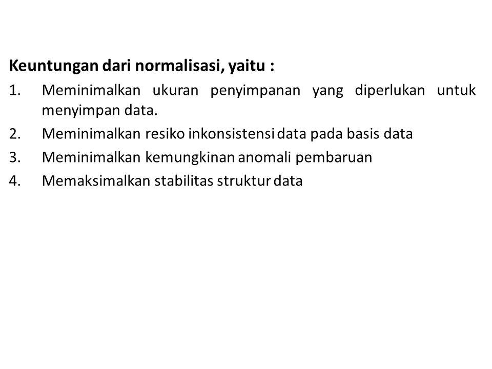 Keuntungan dari normalisasi, yaitu :