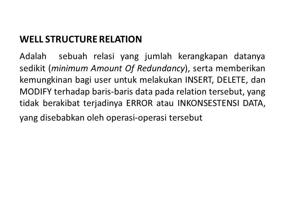 WELL STRUCTURE RELATION