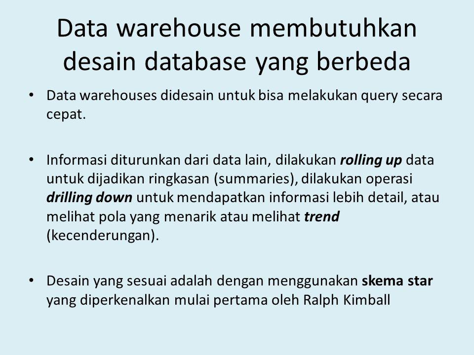 Data warehouse membutuhkan desain database yang berbeda
