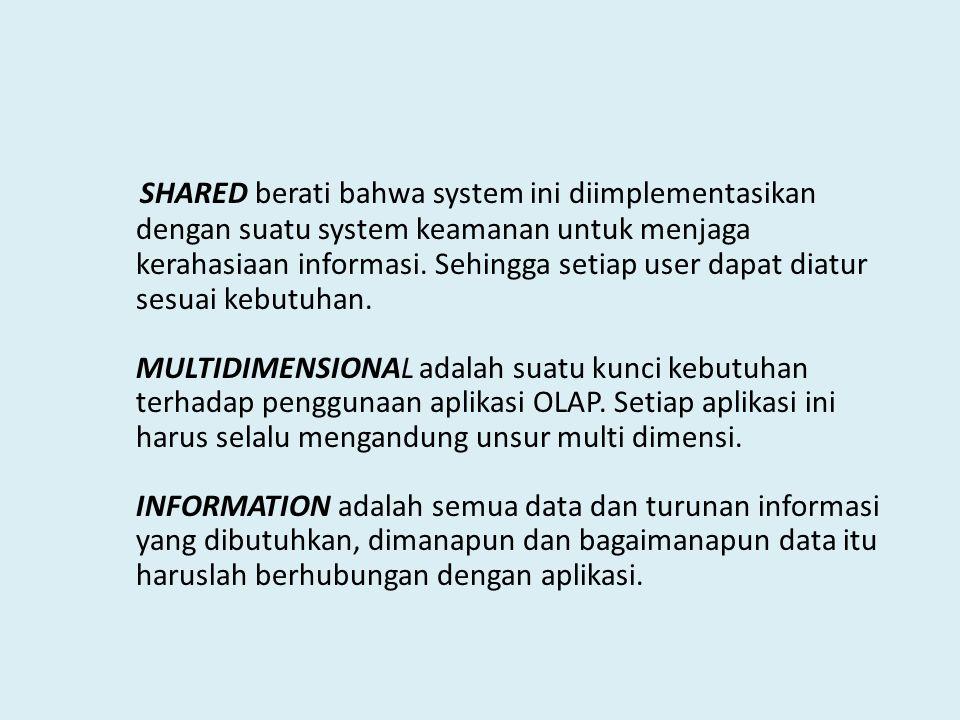 SHARED berati bahwa system ini diimplementasikan dengan suatu system keamanan untuk menjaga kerahasiaan informasi.