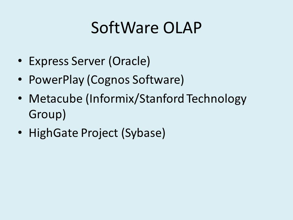 SoftWare OLAP Express Server (Oracle) PowerPlay (Cognos Software)