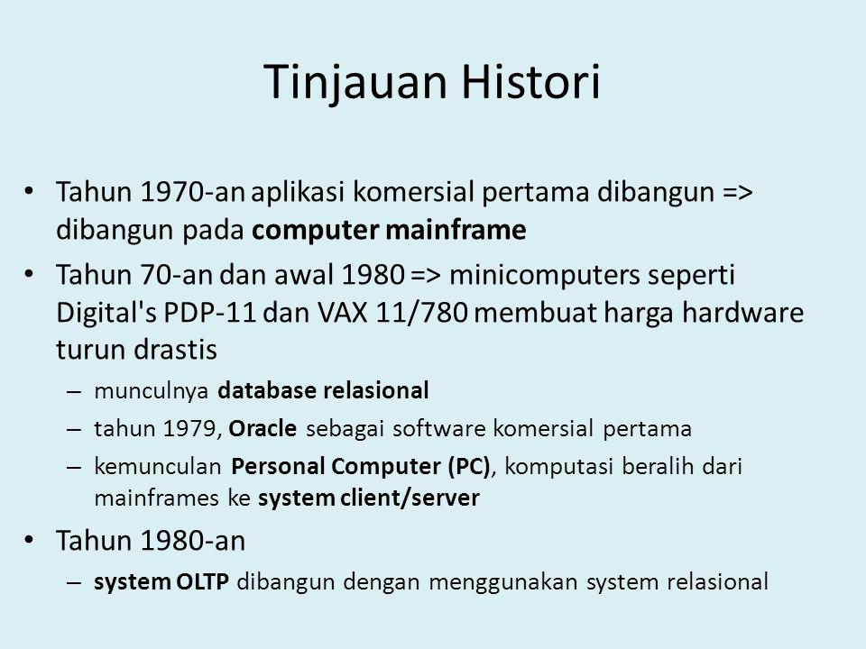 Tinjauan Histori Tahun 1970-an aplikasi komersial pertama dibangun => dibangun pada computer mainframe.