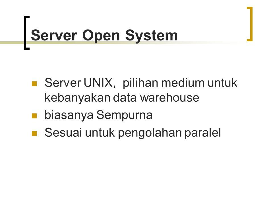 Server Open System Server UNIX, pilihan medium untuk kebanyakan data warehouse. biasanya Sempurna.
