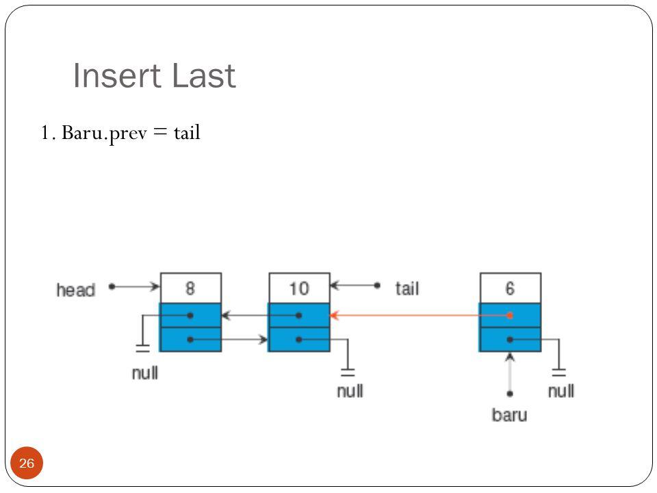 Insert Last 1. Baru.prev = tail