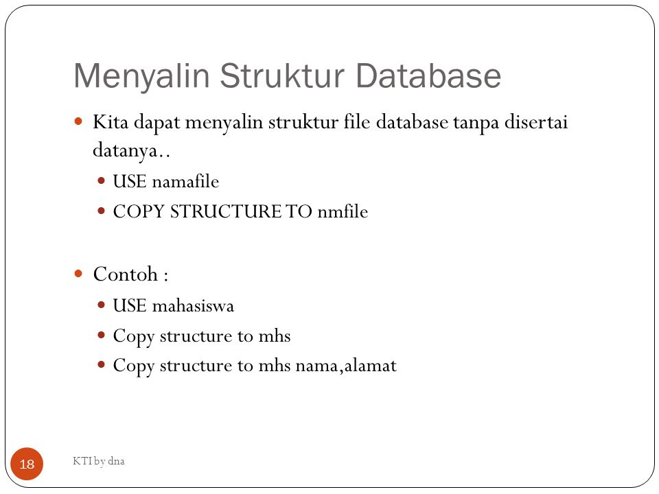Menyalin Struktur Database