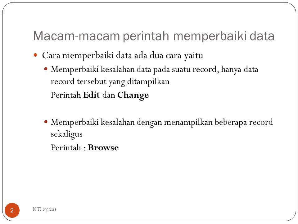 Macam-macam perintah memperbaiki data