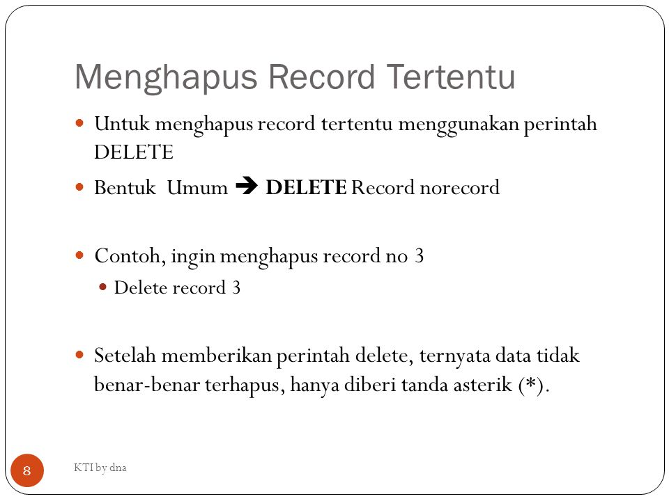 Menghapus Record Tertentu