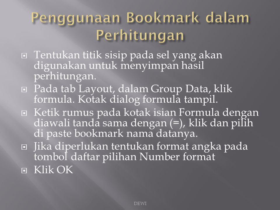 Penggunaan Bookmark dalam Perhitungan