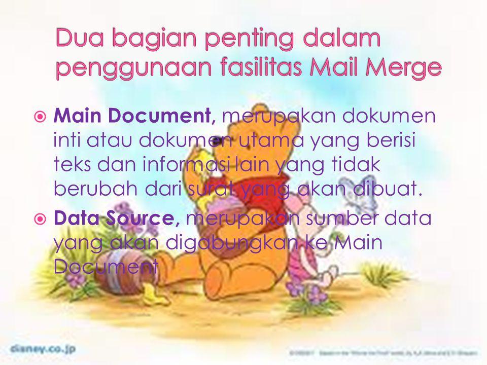 Dua bagian penting dalam penggunaan fasilitas Mail Merge
