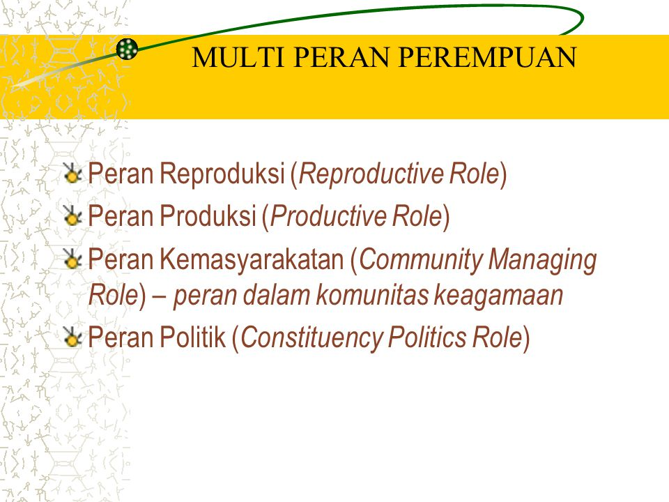 MULTI PERAN PEREMPUAN Peran Reproduksi (Reproductive Role) Peran Produksi (Productive Role)
