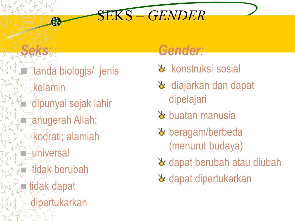 SEKS – GENDER Seks: Gender: tanda biologis/ jenis konstruksi sosial