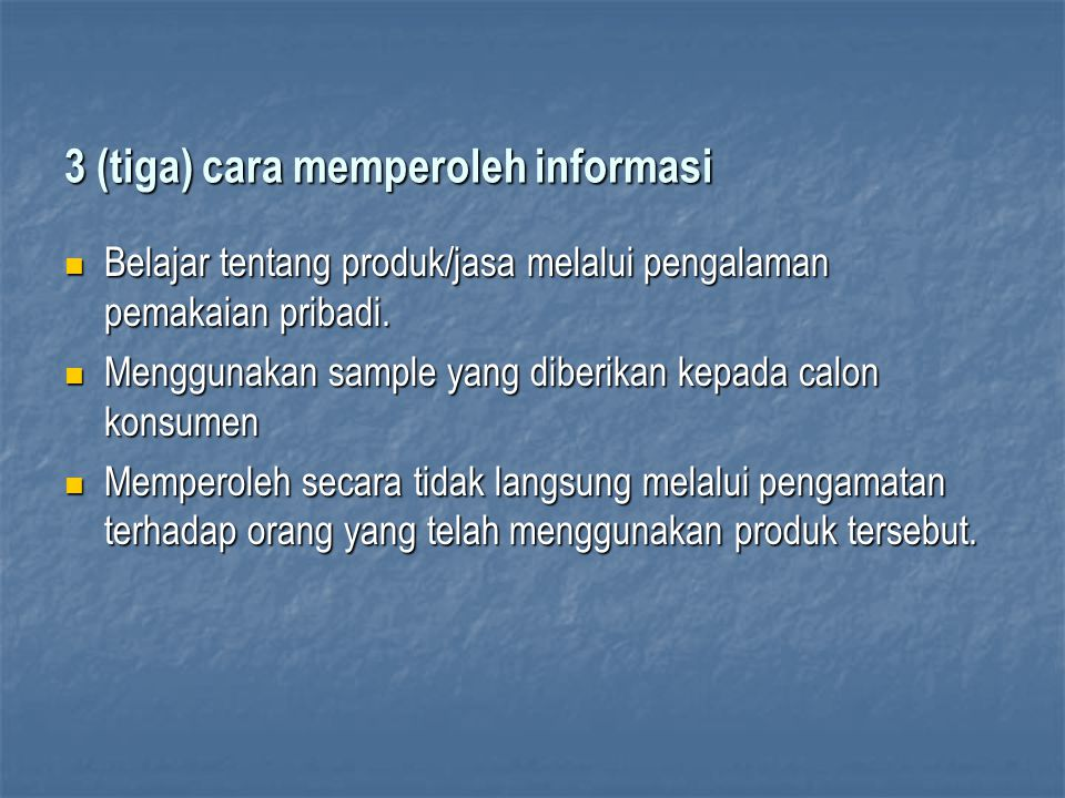 3 (tiga) cara memperoleh informasi