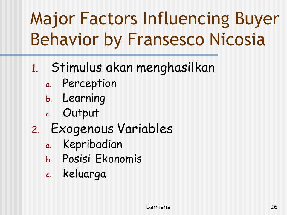 Major Factors Influencing Buyer Behavior by Fransesco Nicosia