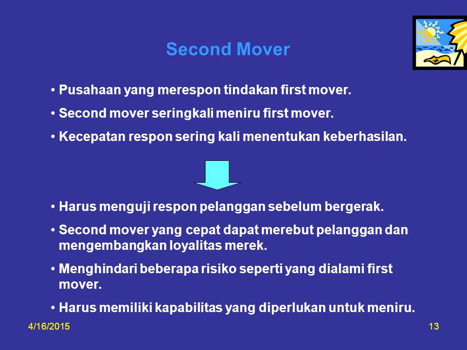 Second Mover Pusahaan yang merespon tindakan first mover.
