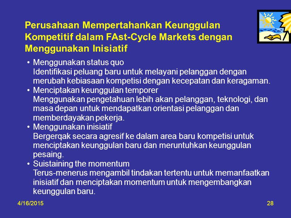 Perusahaan Mempertahankan Keunggulan Kompetitif dalam FAst-Cycle Markets dengan Menggunakan Inisiatif