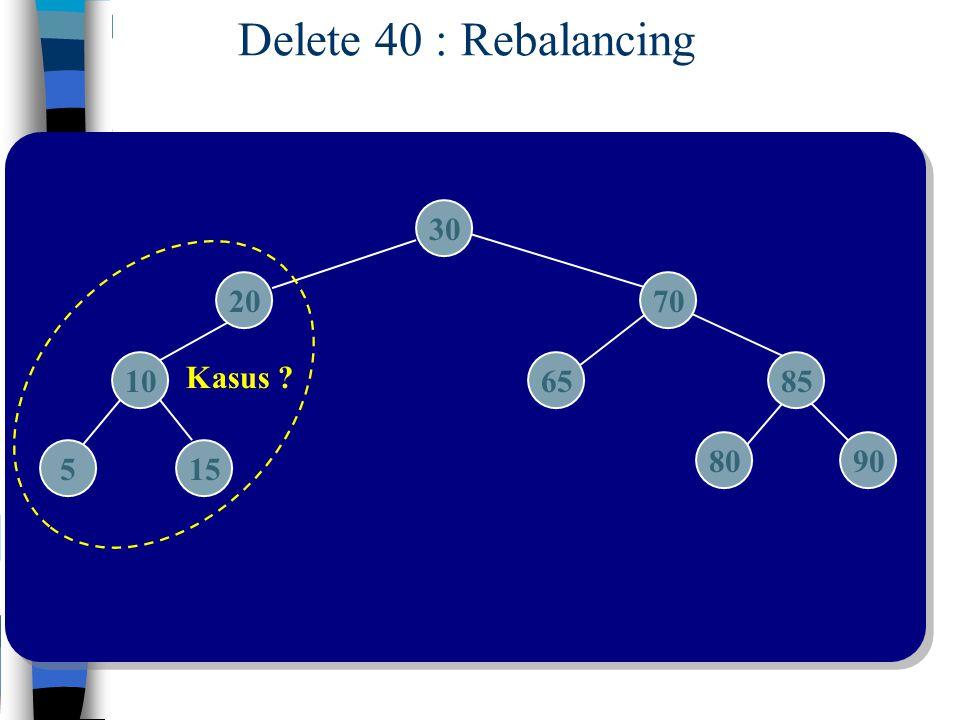 Delete 40 : Rebalancing 30 20 70 10 Kasus 65 85 80 90 5 15