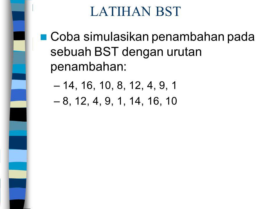 LATIHAN BST Coba simulasikan penambahan pada sebuah BST dengan urutan penambahan: 14, 16, 10, 8, 12, 4, 9, 1.
