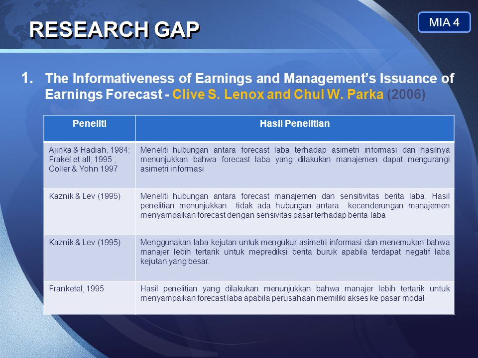 RESEARCH GAP MIA 4. The Informativeness of Earnings and Management's Issuance of Earnings Forecast - Clive S. Lenox and Chul W. Parka (2006)
