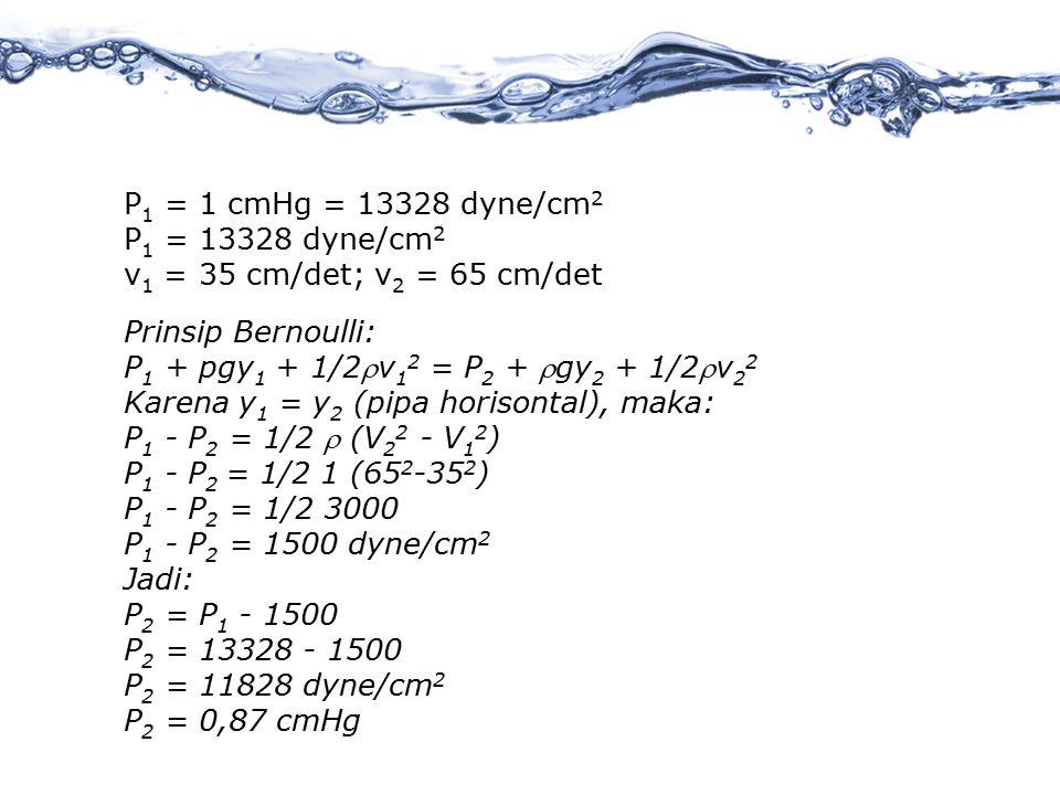 P1 = 1 cmHg = 13328 dyne/cm2 P1 = 13328 dyne/cm2