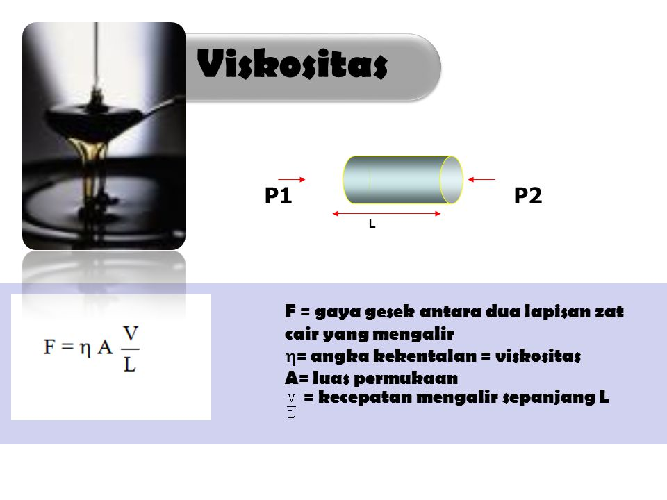 Viskositas L. P1 P2. F = gaya gesek antara dua lapisan zat cair yang mengalir.