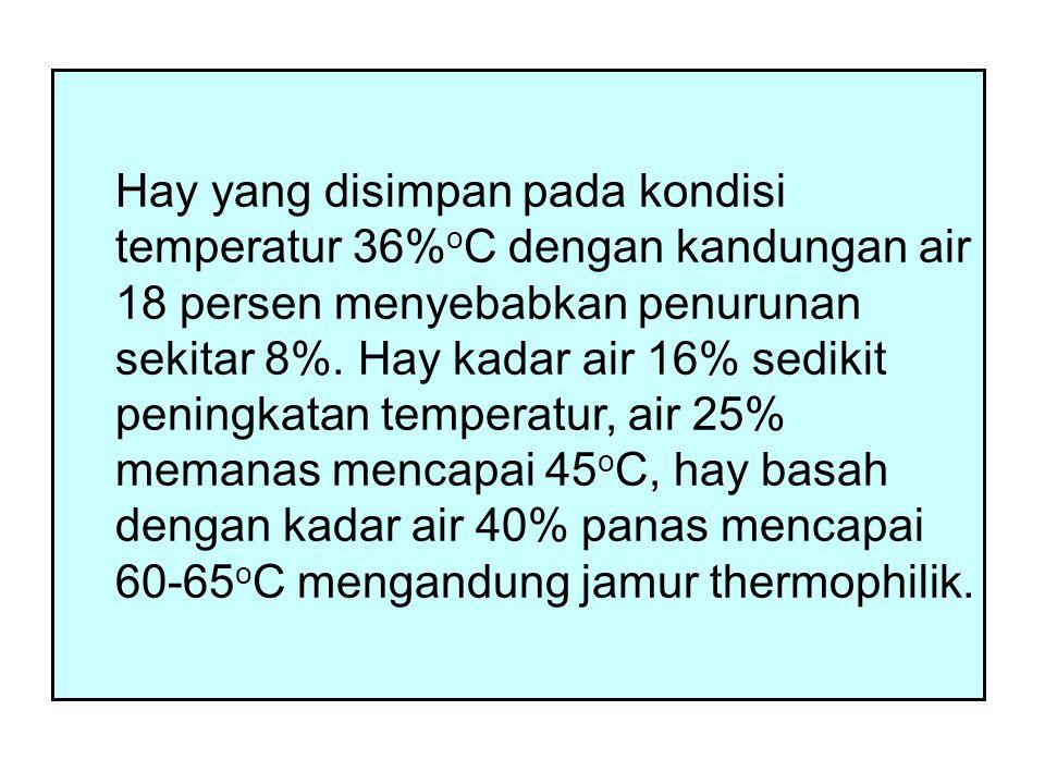 Hay yang disimpan pada kondisi temperatur 36%oC dengan kandungan air 18 persen menyebabkan penurunan sekitar 8%.