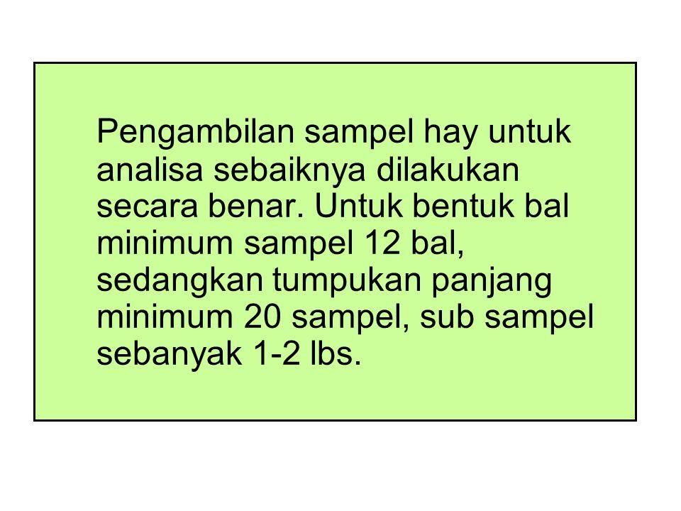 Pengambilan sampel hay untuk analisa sebaiknya dilakukan secara benar
