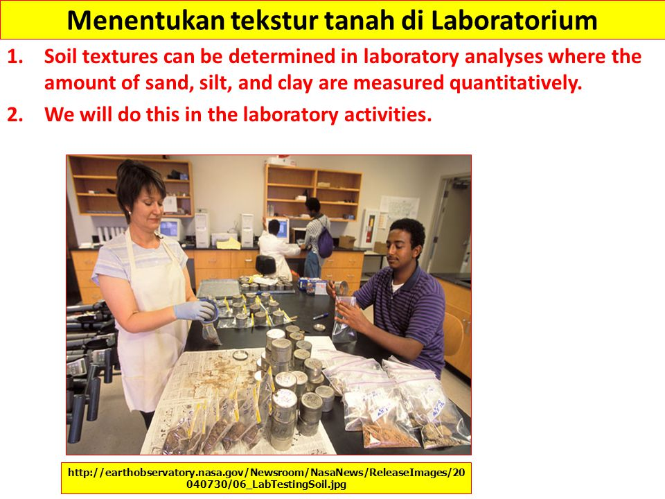 Menentukan tekstur tanah di Laboratorium