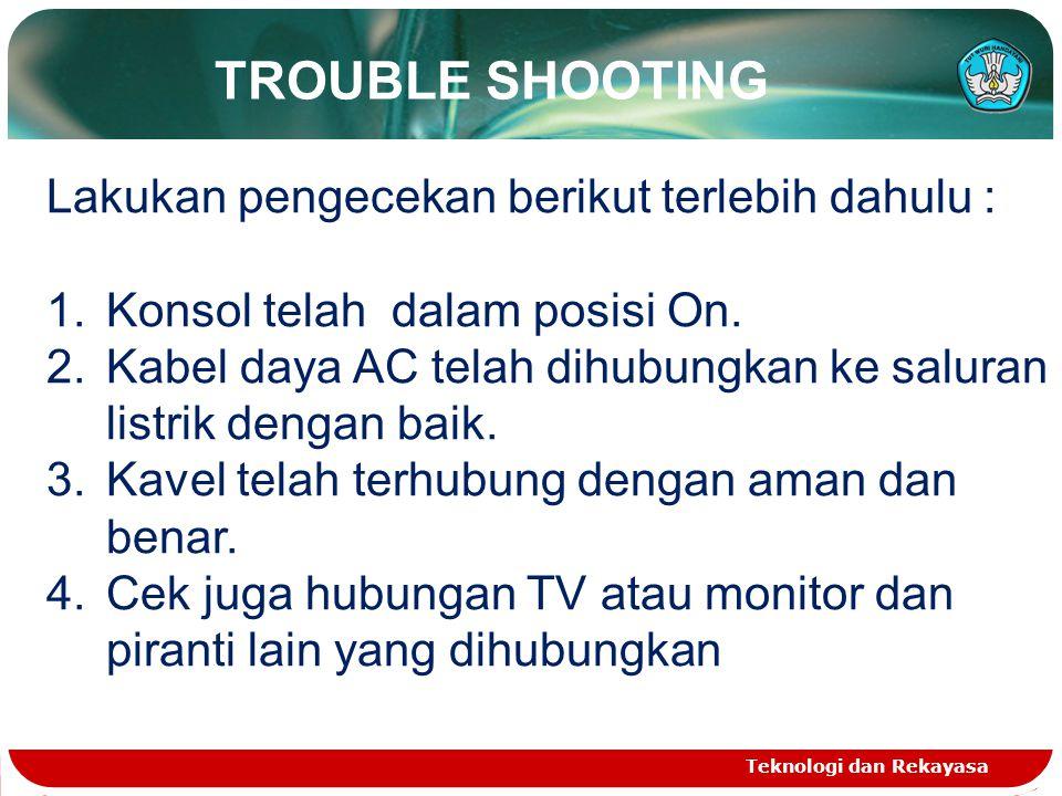 TROUBLE SHOOTING Lakukan pengecekan berikut terlebih dahulu :