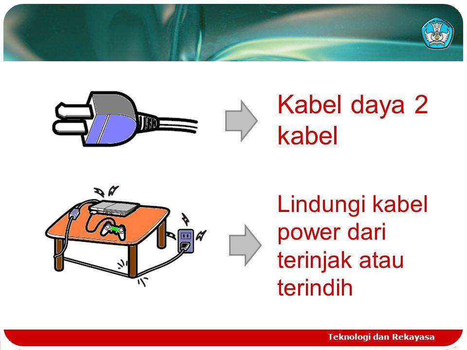 Kabel daya 2 kabel Lindungi kabel power dari terinjak atau terindih