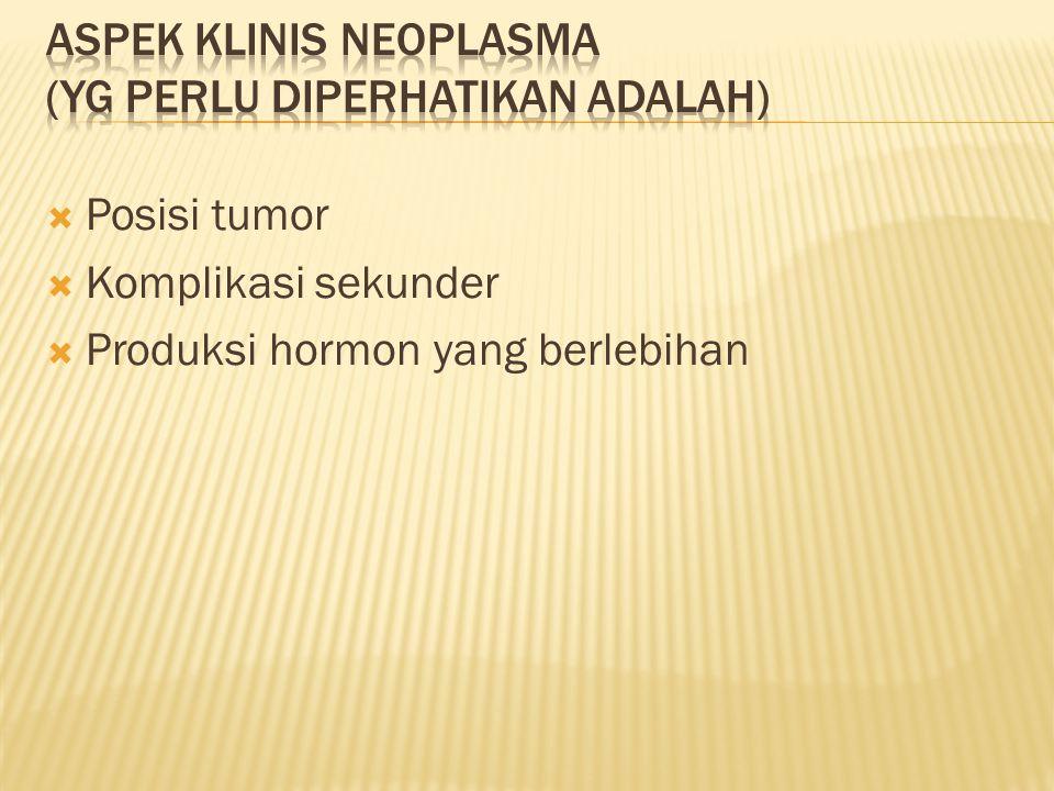 Aspek klinis neoplasma (yg perlu diperhatikan adalah)
