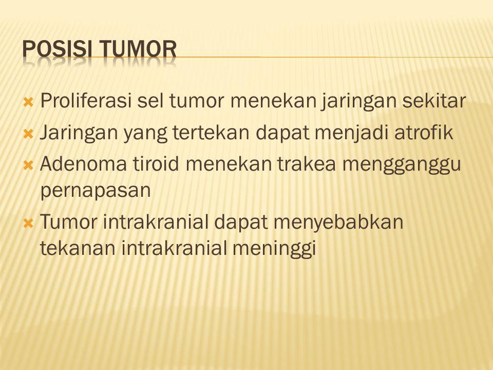 Posisi tumor Proliferasi sel tumor menekan jaringan sekitar