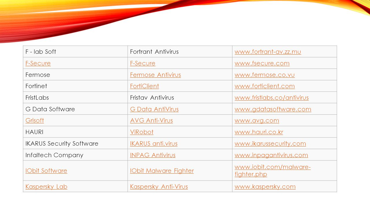 F - lab Soft Fortrant Antivirus. www.fortrant-av.zz.mu. F-Secure. www.fsecure.com. Fermose. Fermose Antivirus.