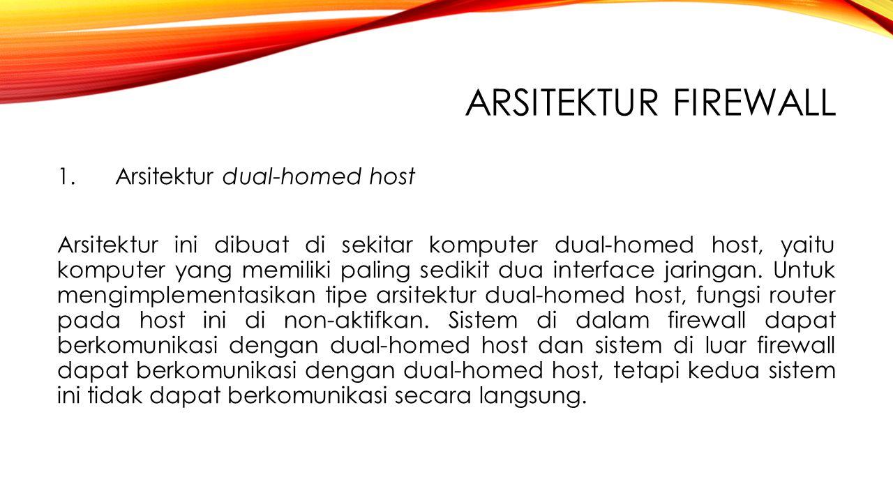 Arsitektur Firewall 1. Arsitektur dual-homed host