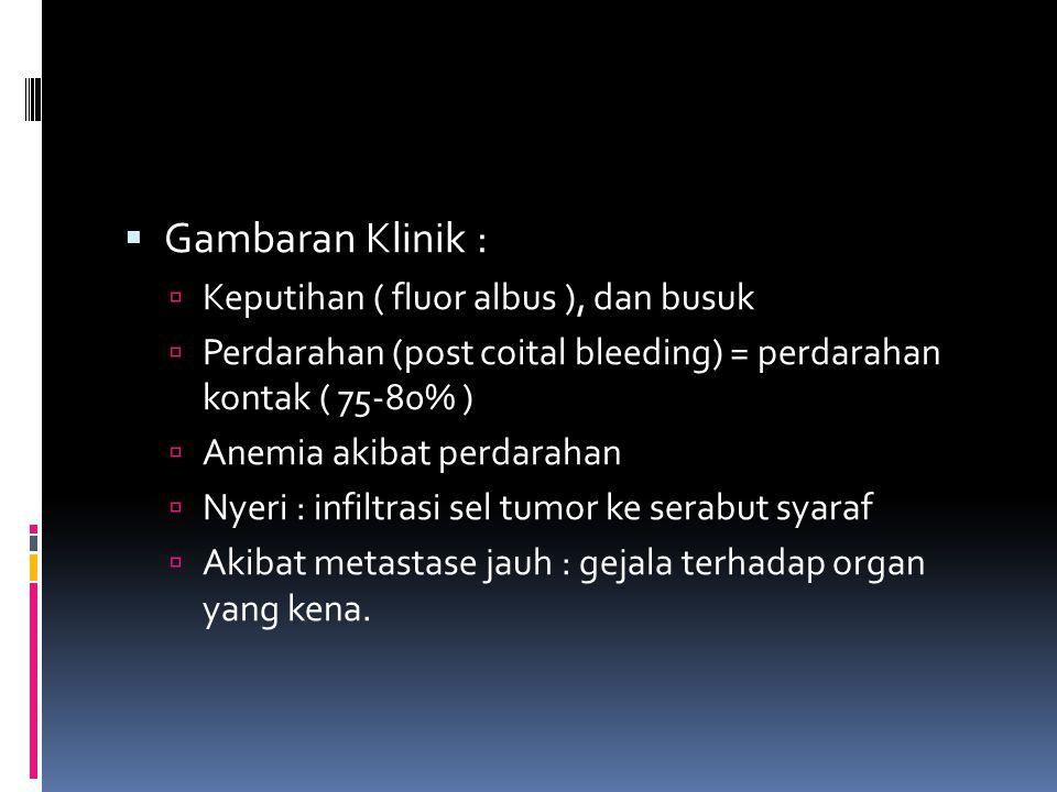 Gambaran Klinik : Keputihan ( fluor albus ), dan busuk