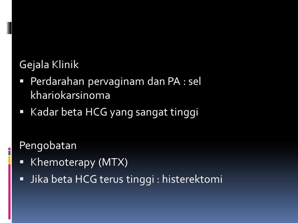 Gejala Klinik Perdarahan pervaginam dan PA : sel khariokarsinoma. Kadar beta HCG yang sangat tinggi.