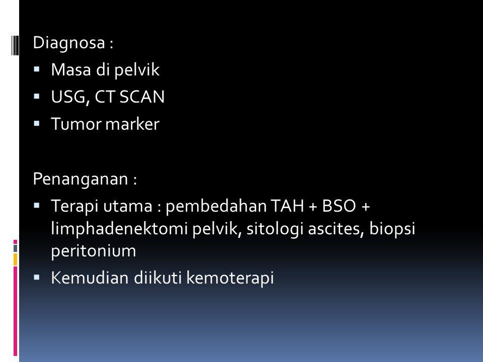 Diagnosa : Masa di pelvik. USG, CT SCAN. Tumor marker. Penanganan :